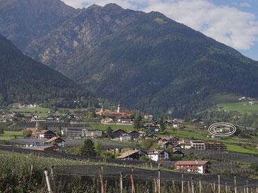 Bild von der Lage der Garni Sonnleiten in Dorf Tirol