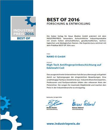 Die NANO-X GmbH erhält den INDUSTRIEPREIS BEST OF 2016 für ihre High Tech Antifingerprintbeschichtung auf Edelstahl Coil.