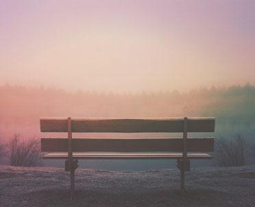 einsame Bank, Sonnenuntergang, Geduld, Ruhe