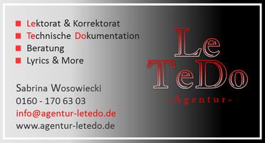 Visitenkarte Agentur LeTeDo Sabrina Wosowiecki
