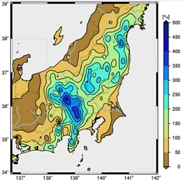 図2  台風19号に伴う総降水量[㎜,48時間](10月13日01時まで)の10月平均降水量に対する比率〔山川:東日本大規模水害を引き起こした台風2019年19号,本ホームページ〕