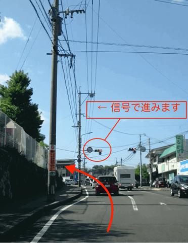 先ほどと同じような左カーブの道を左へ曲がります。