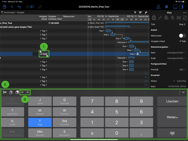 Tastatur in der Merlin Project iPad App