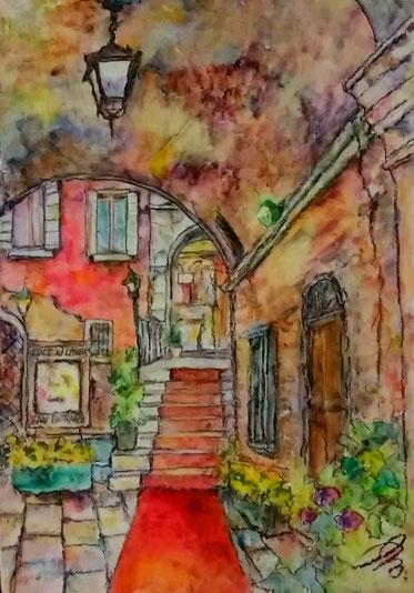 「隠れ家の工房」(ベネチア) 油彩 SM