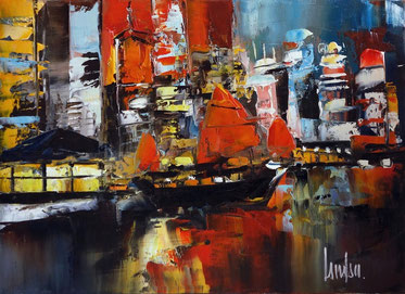 """Nocturne à Hong-Kong"" - 24x33 - Disponible"