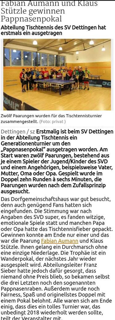 Artikel Schwäbische Zeitung vom 21.12.2017