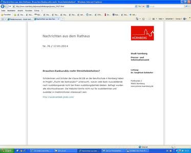 Presseerklärung der Stadt Nürnberg zum Projekt (Screenshot vom 18.01.2014)