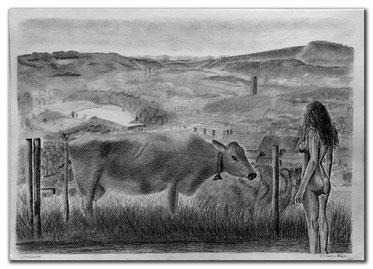 Kohlebild vom Limmattal mit Kuh und Frau im Vordergrund