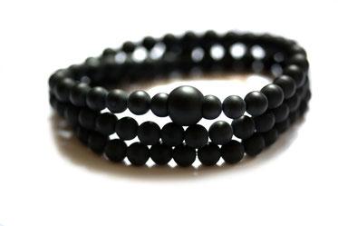 Onyx Perlenarmband schwarz für Männer Herren Berlin Armband mit Perlen Design schlicht Wickelarmband