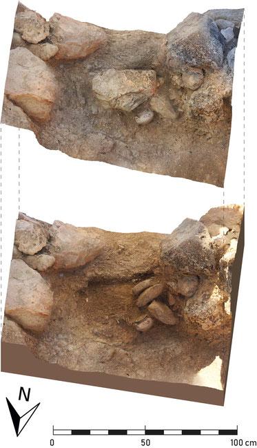 Schrägansichten des Grabes mit der Deckplatte (oben) und geöffnet (unten).