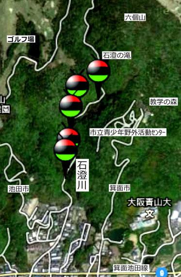 石澄川の山間部のピンが立つ5か所で、今回、ホタルを確認。(「Coco - Hotal」から)
