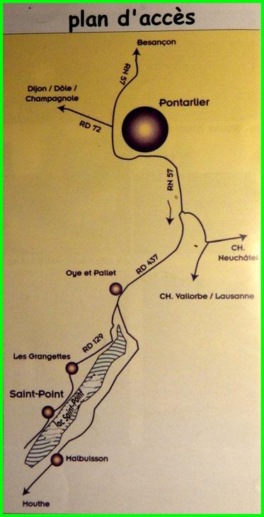 schematische kaart van Saint-Point Lac