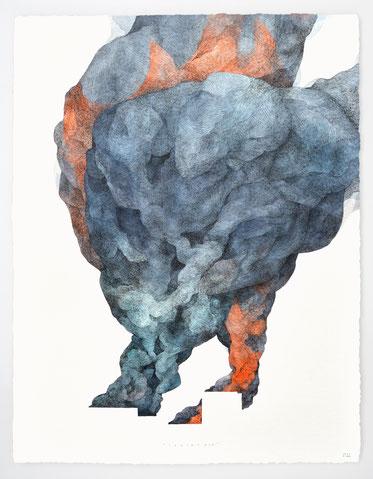 """""""FRACAS 13"""" / Encre de chine et aquarelle / 76x56cm"""