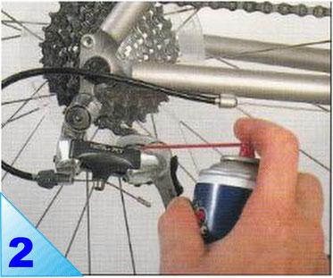 Huilez les axes des roulettes, les pivots du dérailleur arrière. Essuyez le surplus de lubrifiant.