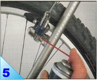 Lubrifiez l'avant et l'arrière de chaque pivot de frein. Veillez à ne pas graisser les jantes toutes proches.