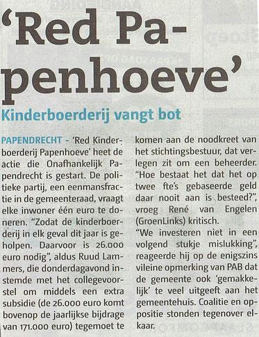 Papendrechts Nieuwsblad 12 april 2017 (voorpagina)