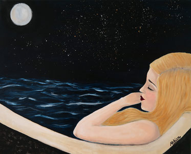 Japanese Nihonga painting blonde haired girl with long open hair with closed eyes lies in a bathtub relaxing and dreaming of the wide ocean in the night with stars shining at the sky and the moon surreal art surrealism artwork for your home for sale