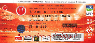 Tickets Reims-PSG  2014-15