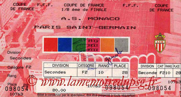 Ticket  Monaco-PSG  1992-93