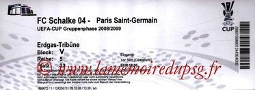 Ticket  Schalke 04-PSG  2008-09