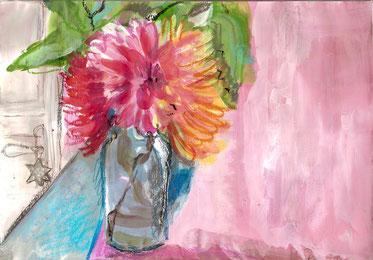 peinture et pastels dahlias.