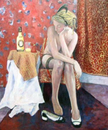 Der Gedanke, Format 70 x 100 cm, Eitempera/Öl-Lasur auf Leinwand, 2012