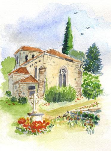 Paul Froment - Floressas - tombe - aquarelle