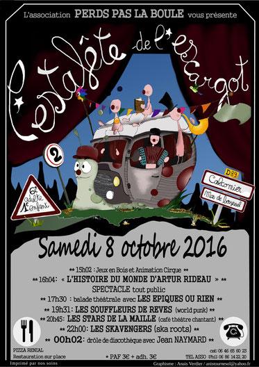 """Affiche du festival """"L'Estafette de l'Escargot"""" 08/10/2016"""