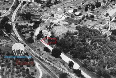 Vue aérienne indiquant le lieu du combat où furent tués KENNAMER, MOORE et DEBRAY