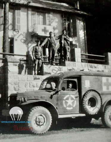 Hopital de campagne établi par les parachutistes du 509em bataillon à Peira-Cava e septembre 1944.