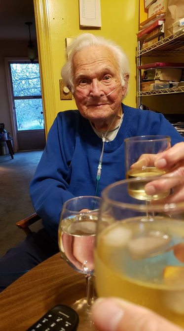 Toast to all his friends in this world for his 96 bithday.(pic. Claire Giblin)