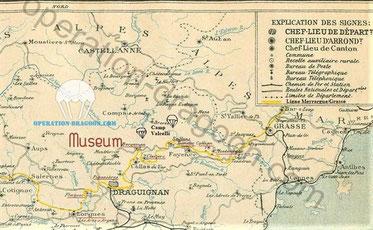 carte des années 30 du réseau ferré Var. avec en jaune la ligne Meyrargue/Grasse qui fut utilisée par la résistance.