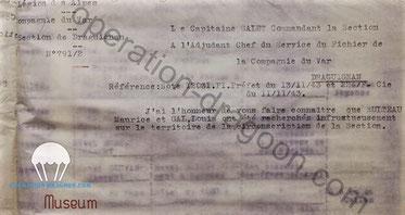 Avis de recherche de la gendarmerie en l'encontre de Louis GAL en fin 1943 alors qu'il venait de prendre le maquis et refuser le S.T.O.