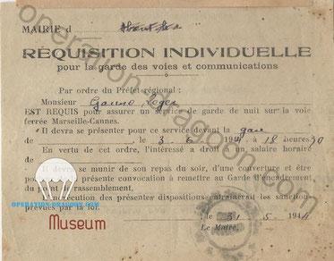 Document de réquisition de Roger pour la garde des voies ferrées
