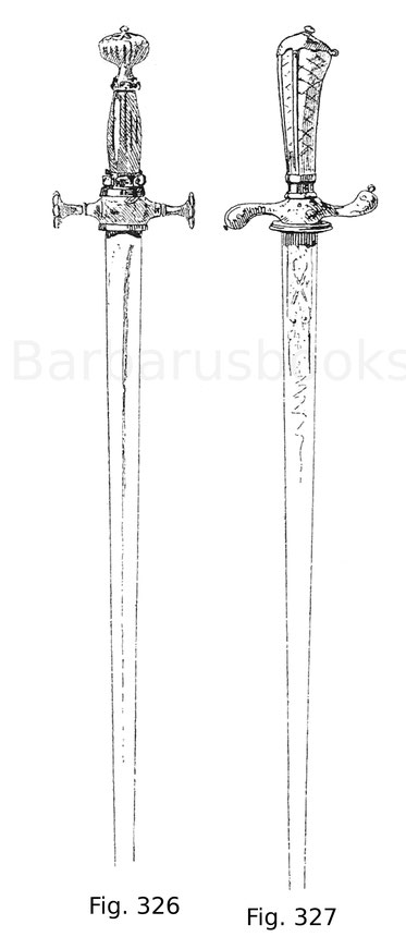 Fig. 326. Kleiner Hofdegen mit Griff aus Bergkristall. Die Fassung aus vergoldetem Silber ist mit Edelsteinen besetzt. 17. Jahrhundert.