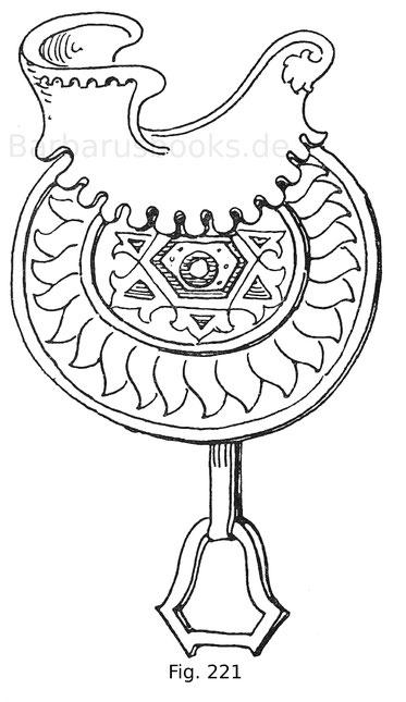 Fig. 221. Jagdsattel mit Überzug aus rotem Leder, gestickter, kreisrunder Satteldecke und metallenen Steigbügeln. Südfranzösisch. 14. Jahrhundert.