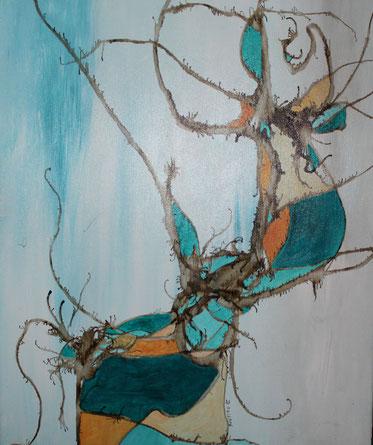 ohne Titel, 40 x 50 cm, Tusche, Acrylfarbe