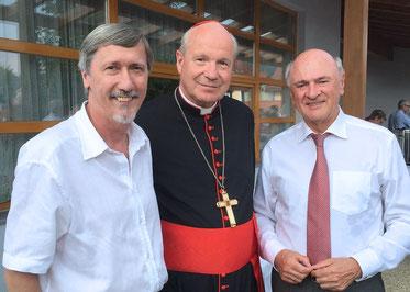 Manfred Waba, Kardinal Schönborn und LH Erwin Kröll bei der Premiere 15.8.2015