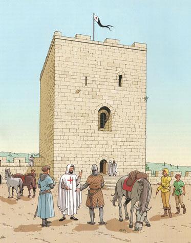 Visiteur franc au Chastel-Blanc - Les voyages de Jhen - Les Templiers - Ed. Casterman. Temple de Paris