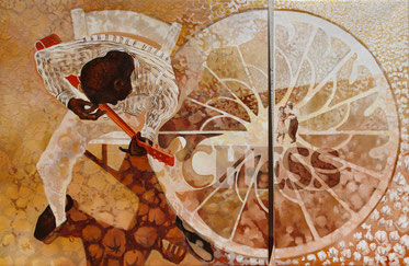 diptych - oil and sand on canvas - 164 x 100 cm