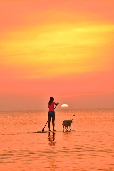 太陽が海に浸かる瞬間、オレンジ色に海が変わる異空間体験を海の上でのんびりと。