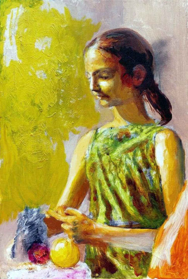Girl with fruit. Painted at Woodstock, NY. Private collection