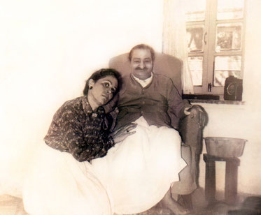 Meher Baba with Adele in Mandali Hall, Meherazad, India
