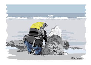 disegno-drawing-bobtail-cane-dog-digital-art-sitting-person-beach-sea-spiaggia-mare-persona