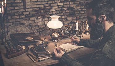 Matthäus Tschuchnigg - Schreibt in sein Notizbuch