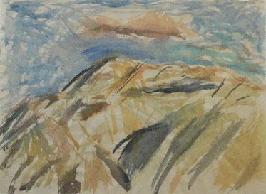 MONT VENTOUX, ABENDS  2010     farbige Tuschen und Aquarell auf Papier  66 x 88 cm