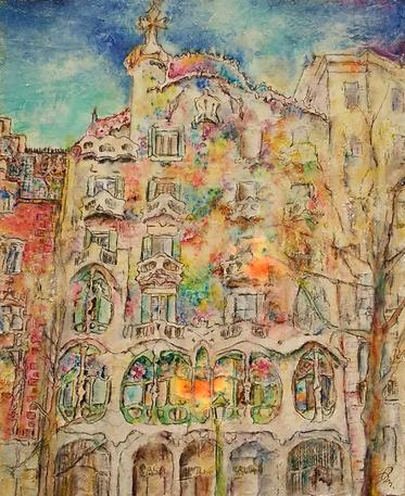 「カサ・バトリョ」 F6 油彩