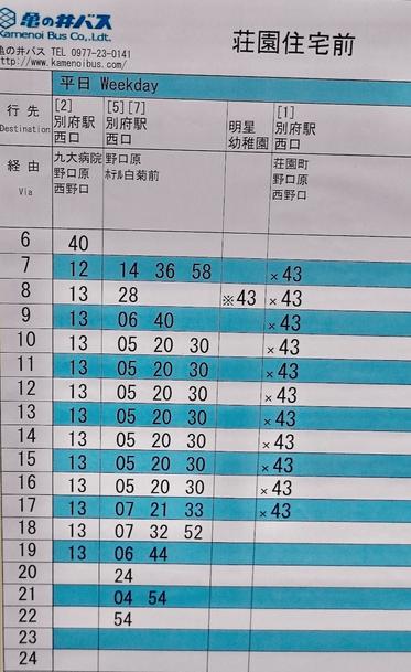 大分別府頭痛専門ここまろ調整院から別府駅へ向かうバスの時刻表(平日)です。