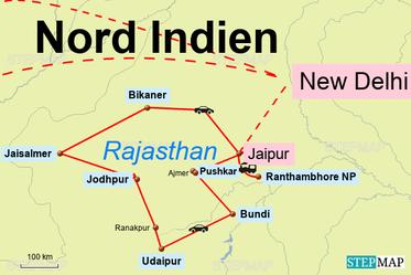 Bild: Reiseroute Rajasthan