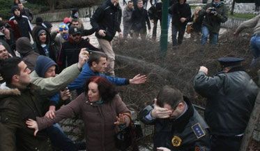 Sammenstød med politiet,d 7. februar 2014  i Sarajevo